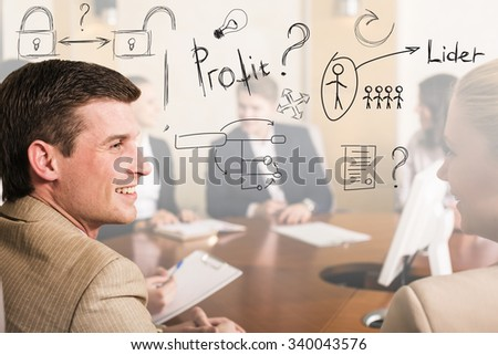 Young business people meeting in conference hall  - stock photo
