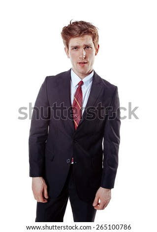Young business-style guy. Isolated on white.