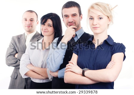 Young business team on white background - stock photo