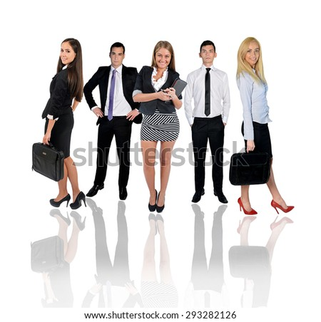 Young business team with reflection - stock photo