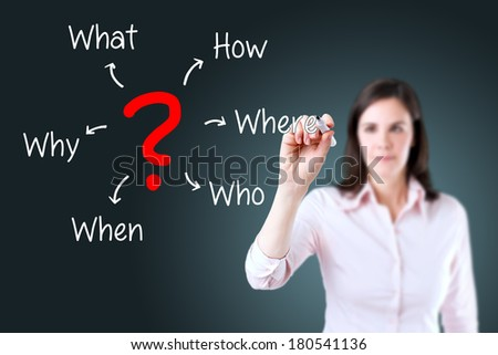 Young business woman analyzing problem.  - stock photo