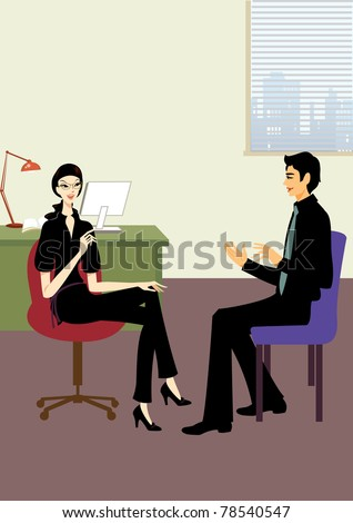 young business woman and handsome man talk in office