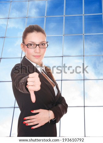 Young business woman at corporate - stock photo
