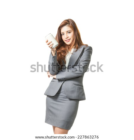 Young business woman attractive presenting gray can of soft drink on white background. - stock photo