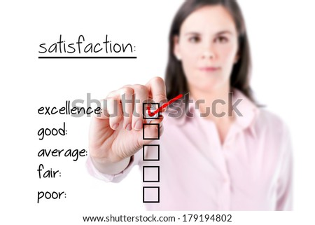 Young business woman checking excellence on customer satisfaction survey form.