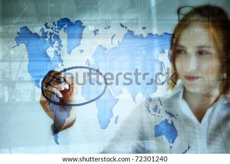 young business woman doing stock market analysis and marking the crisis area on the world map .