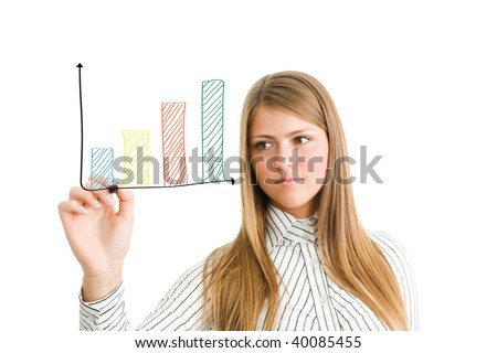 Young business woman draw a chart isolate on white - stock photo
