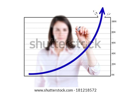 Young business woman drawing over target achievement graph, white background.  - stock photo