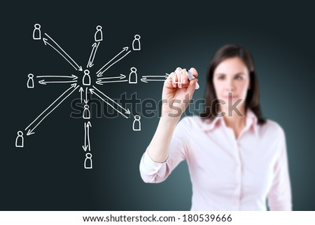 Young business woman drawing social network structure. - stock photo