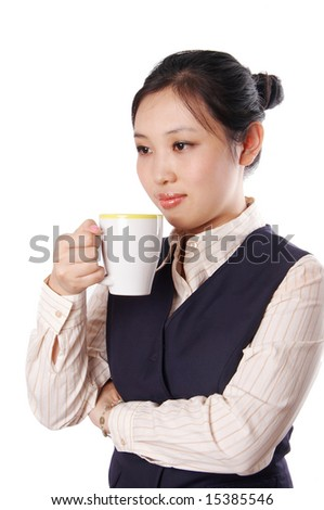 Young business woman enjoy coffee time. - stock photo