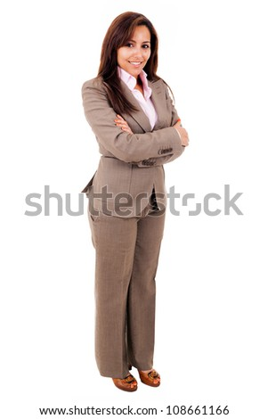 Young business woman full length isolated on white - stock photo