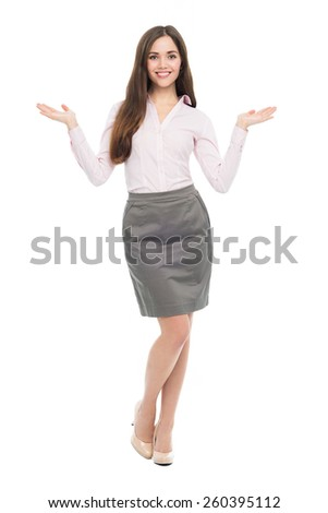 Young business woman gesturing  - stock photo