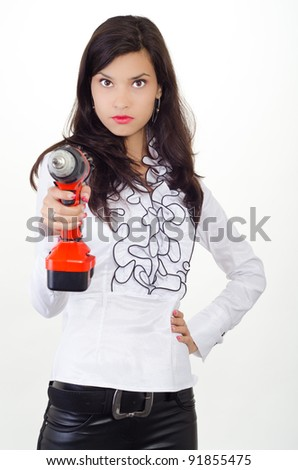Young business woman getting attitude - stock photo