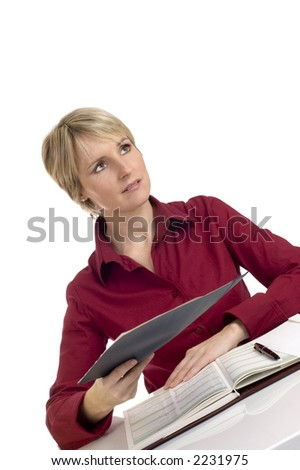 young business woman giving document on white