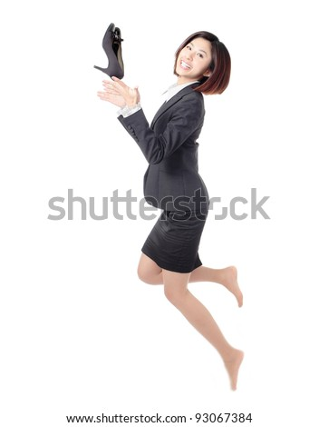 Young Business woman happy jump and throw high heeled shoes into air isolated on white background - stock photo