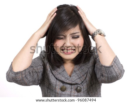 young business woman headache - stock photo
