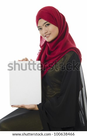 young business woman holding an empty white paper. - stock photo