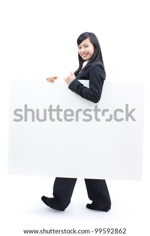 young business woman holding blank billboard, isolated on white background - stock photo