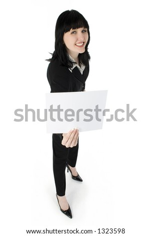 Young business woman holding blank white card.