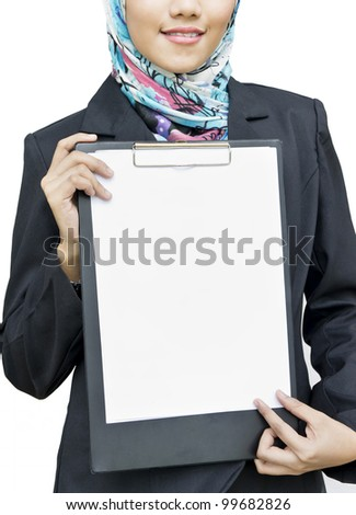 young business woman holding empty white paper with file board - stock photo