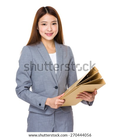 Young business woman holding file