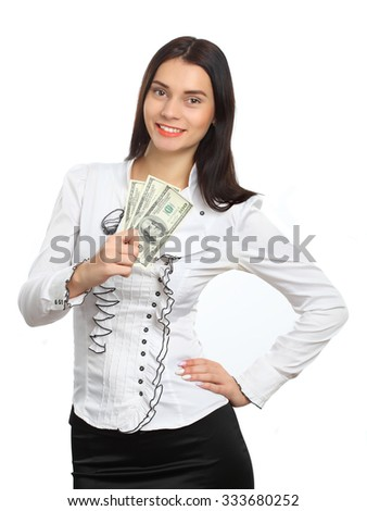 young business woman holding money - stock photo