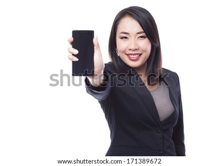 Young business woman holding  smartphone on white background