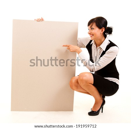 young business woman holding the poster, white background