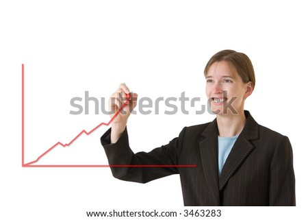 Young business woman in a tailored suit drawing a chart showing steady growth. Image is isolated on a white background. - stock photo