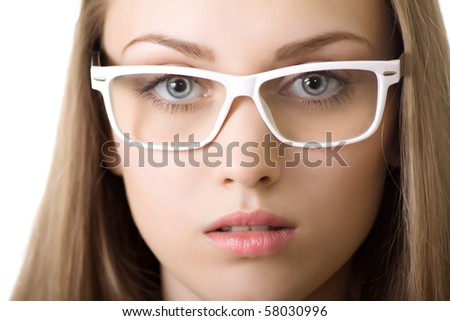 young business woman in glasses close-up isolated - stock photo