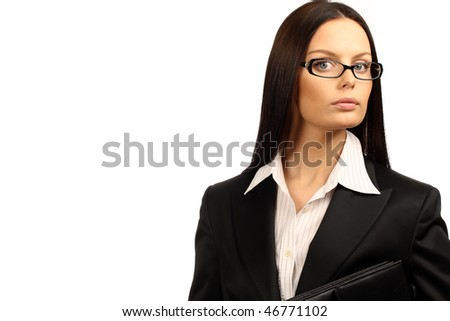 Young business woman. Isolated over white background. - stock photo