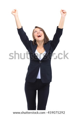 Young  business woman isolated white background - stock photo