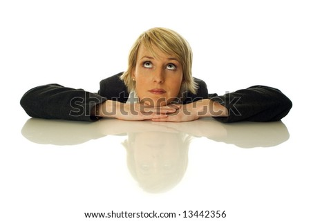 young business woman looking up on white - stock photo