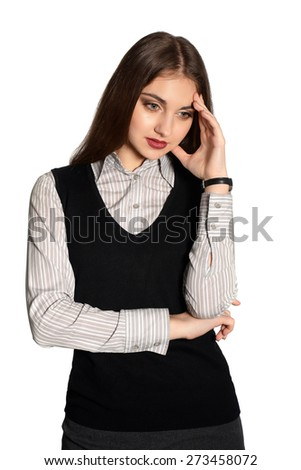 Young business woman looking worried - isolated over white