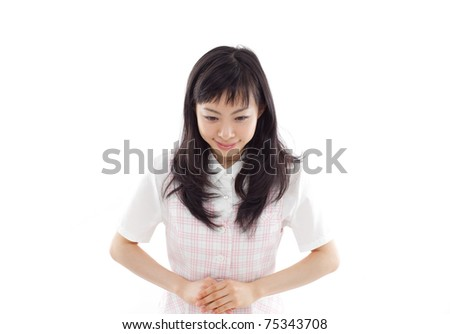 young business woman making apology,  isolated on white back ground - stock photo