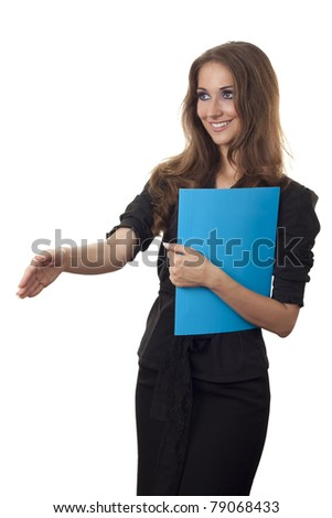 Young business woman offering for handshake