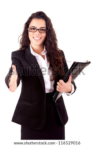 Young business woman offering handshake