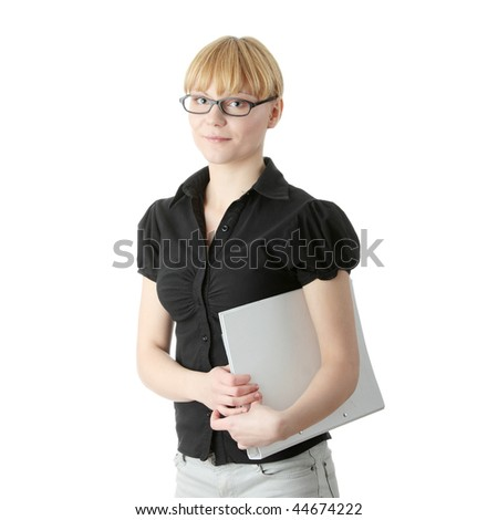 Young business woman or student, isolated on white - stock photo