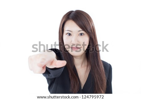 young business woman pointing at you, isolated on white background - stock photo
