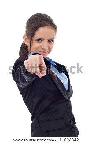 Young business woman pointing finger at the camera, isolated on white background - stock photo