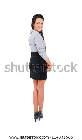 Young business woman presenting something - stock photo