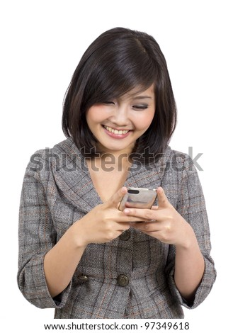 young business woman reading text message on mobile phone - stock photo