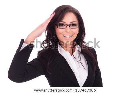 young business woman saluting you in a military style. on white background - stock photo