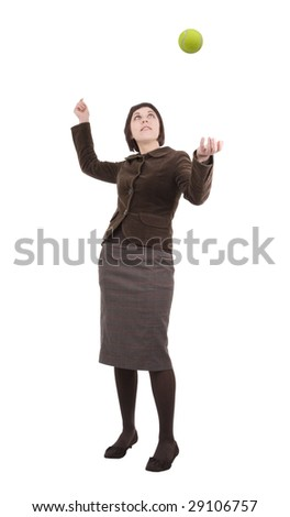 Young business woman serving a tennis ball, ready to win. Shot on white background.