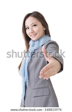 Young business woman shake hand with you, closeup portrait isolated on white background. - stock photo