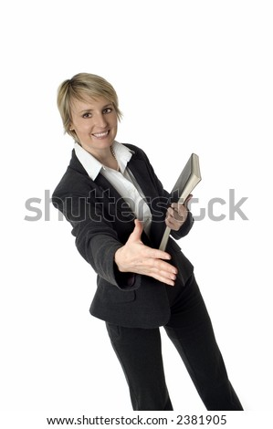 young business woman shaking hand on white - stock photo