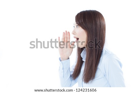 young business woman shouting, isolated on white background - stock photo