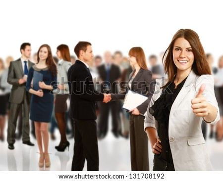 young business woman show ok, business team. - stock photo