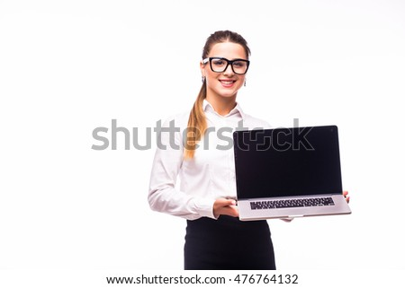 Young business woman showing blank laptop screen ready for your text and promotion, isolated on white background.