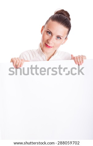 young business woman showing blank signboard isolated on white background - stock photo